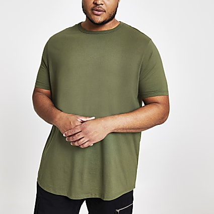 Big and Tall green slim fit curve hem T-shirt
