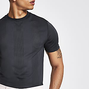 Grey stripe mesh slim fit T-shirt