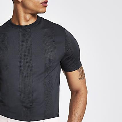 Grey stripe mesh slim fit T-shirt