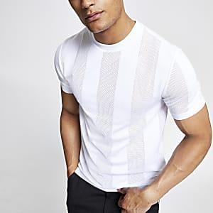 White mesh stripe T-shirt