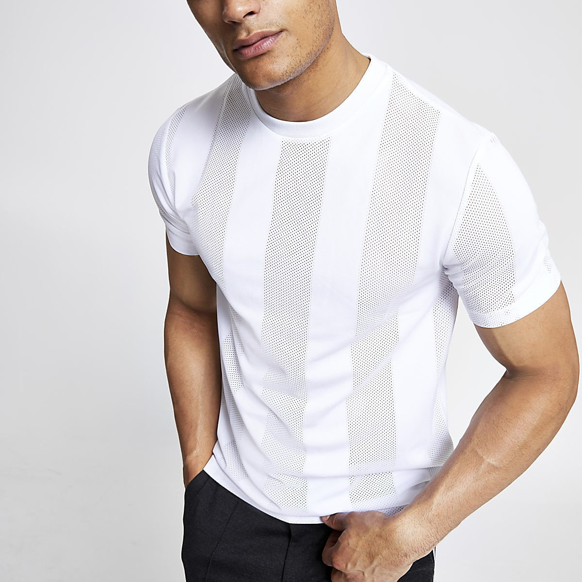 White mesh stripe T-shirt