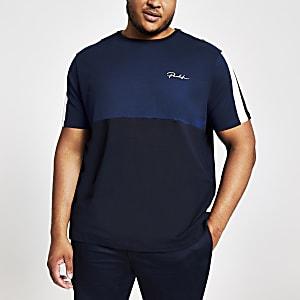 Big & Tall - Marineblauw 'Prolific' T-shirt met kleurvlakken
