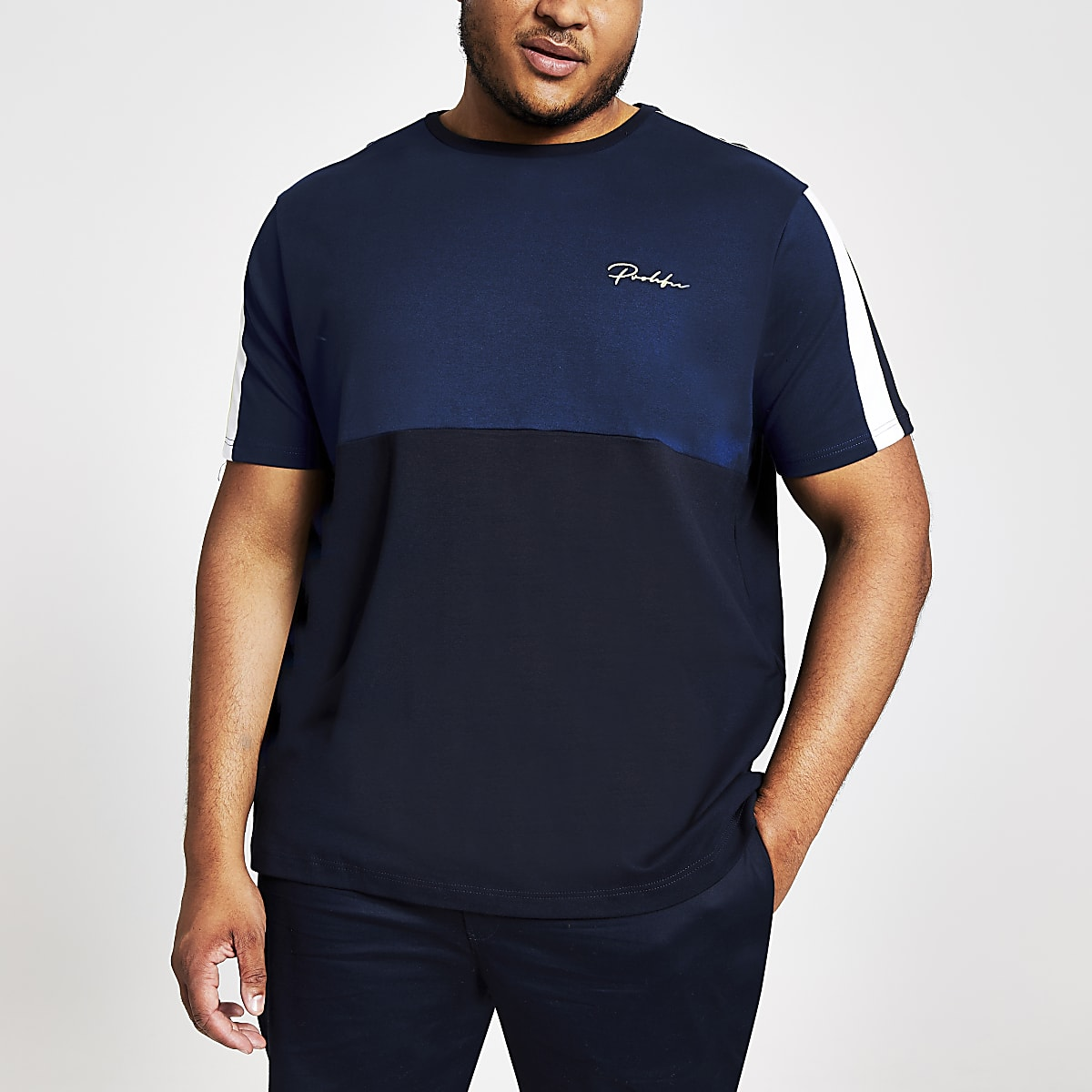 Big and Tall – T-shirt Prolific colour block bleu marine