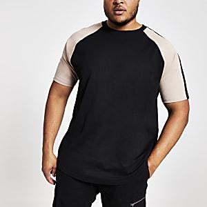 Big and Tall – T-shirt slim noir à manches raglan