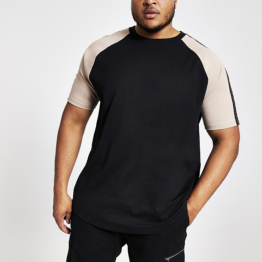 Big and Tall - Zwart slim-fit T-shirt met raglanmouwen