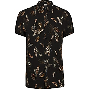 Big and Tall peacock print slim fit shirt