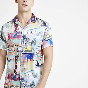 Ecru Miami print short sleeve shirt