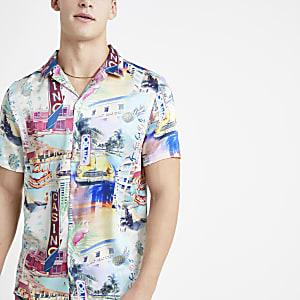 Chemise à imprimé Miami écrue à manches courtes