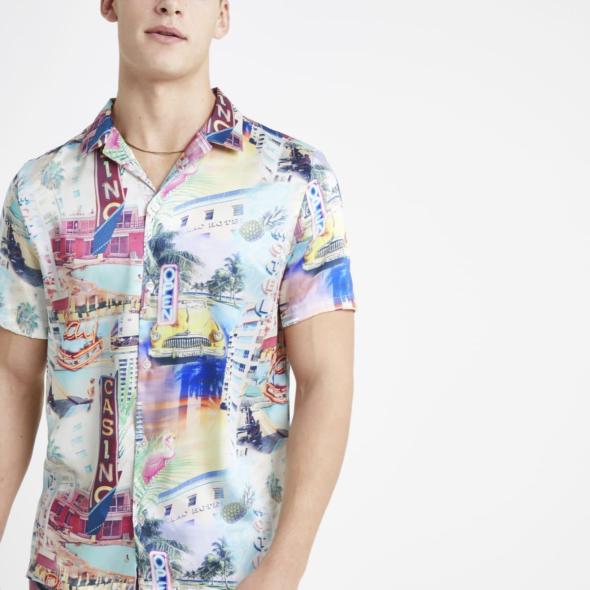 Ecru Miami print short sleeve shirt