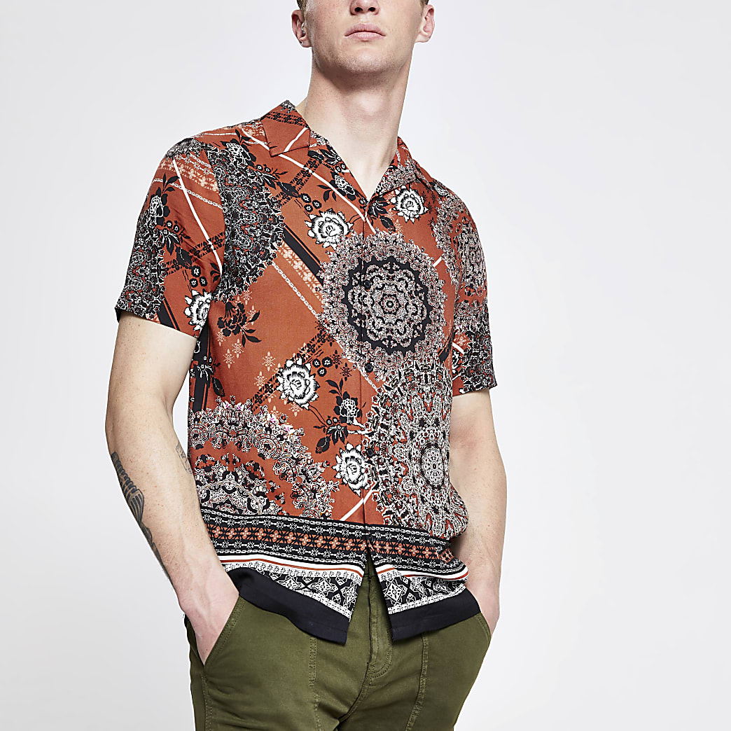 Rust Moroccan tile print short sleeve shirt