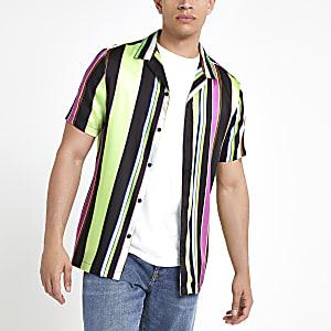 Chemise manches courtes noire à rayures fluo