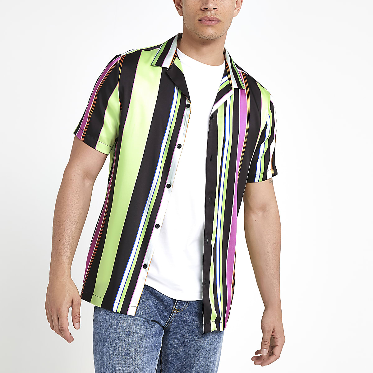 Black neon stripe short sleeve shirt