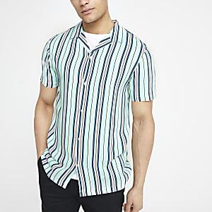 Pastelgroen gestreept overhemd met korte mouwen