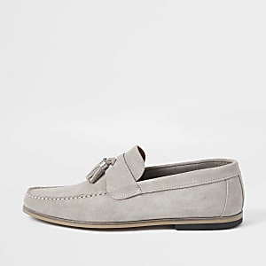 Light grey suede tassle loafers