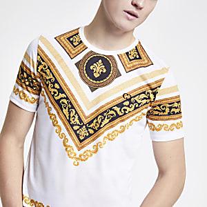 Criminal Damage - Wit T-shirt met barokprint