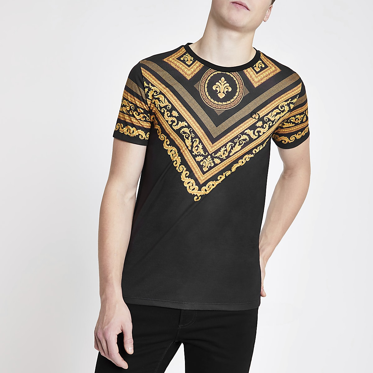 Criminal Damage black baroque print T-shirt