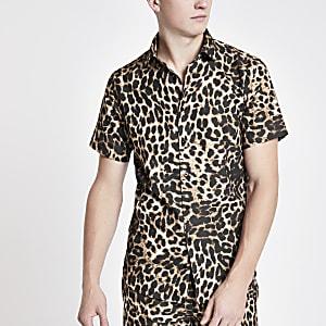 Criminal Damage – Chemise manches courtes imprimé léopard marron