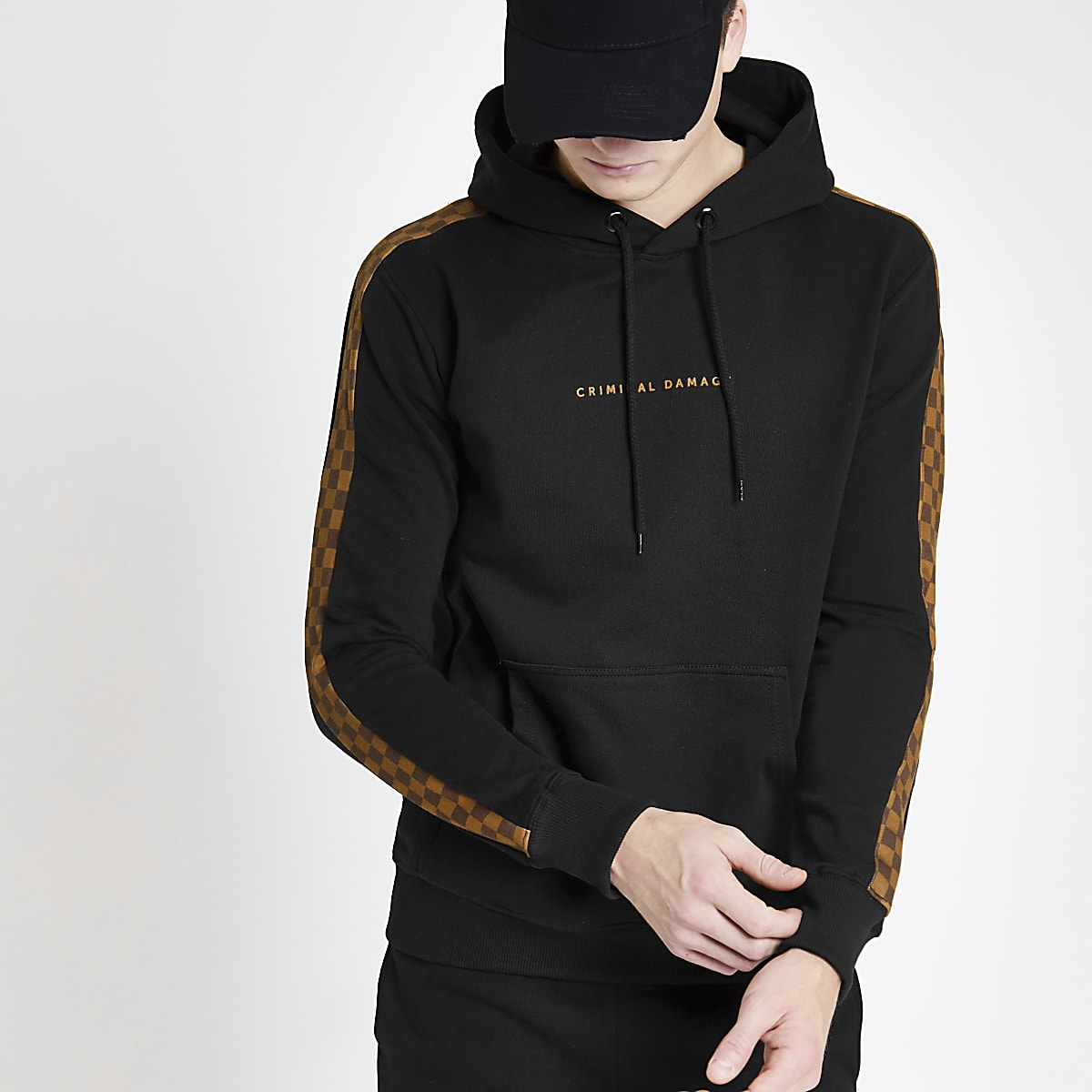 Criminal Damage black check panel hoodie