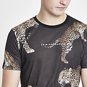 Criminal Damage – Schwarzes T-Shirt mit Animal-Print