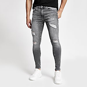 Ollie - Grijze spray-on skinny ripped jeans