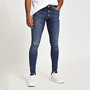 Mid blue Oliie spray on skinny jeans
