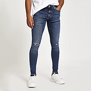 Mid blue Oliie spray on skinny jeans