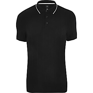 Big & Tall – Schwarzes Slim Fit Polohemd