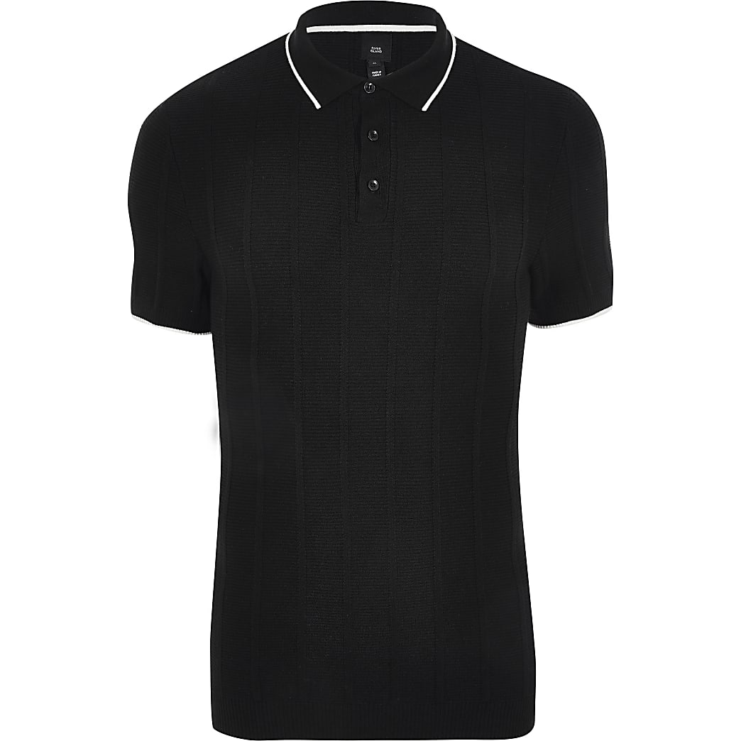 Big and Tall - Zwart slim-fit poloshirt