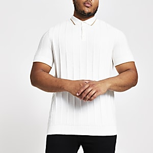 Big & Tall – Slim Fit Poloshirt in Ecru