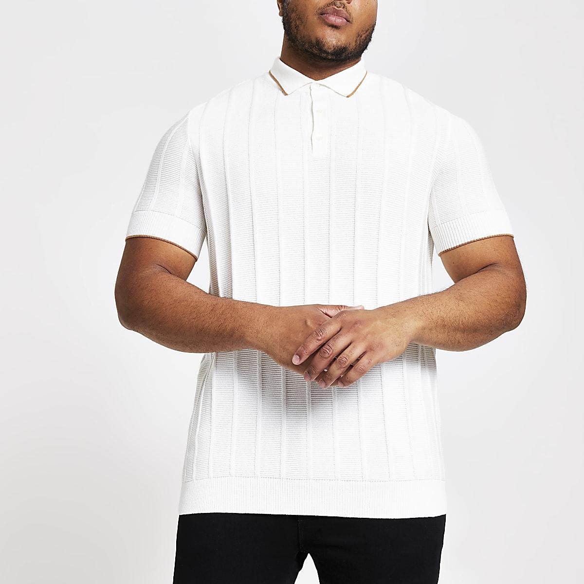 Big and Tall ecru slim fit polo shirt