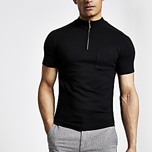 Black muscle fit zip turtle neck T-shirt