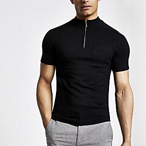 T-shirt ajusté noir à col montant zippé