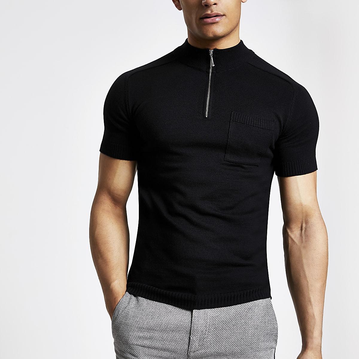 Black muscle fit zip turtle neck T-shirt