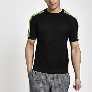 Zwart gebreid slim-fit T-shirt met neon bies