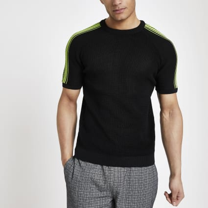 Black neon tape knitted slim fit T-shirt