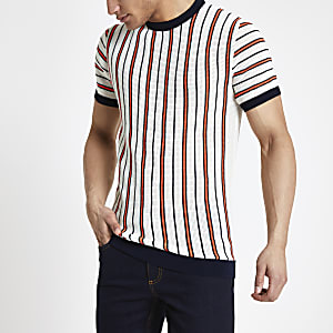Ecru neon stripe knitted slim fit T-shirt