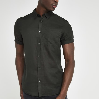 Black linen slim fit short sleeve shirt