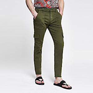 Khaki skinny cargo utility pants