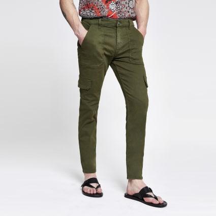 Khaki skinny cargo utility trousers