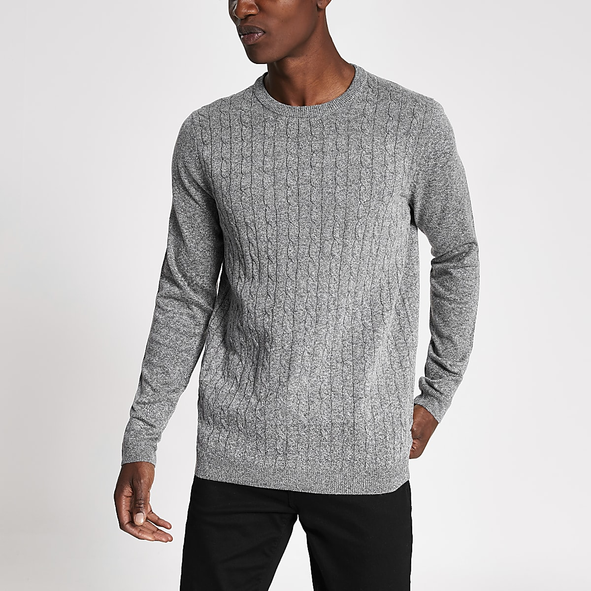 3d792780de Only & Sons grey cable knit jumper