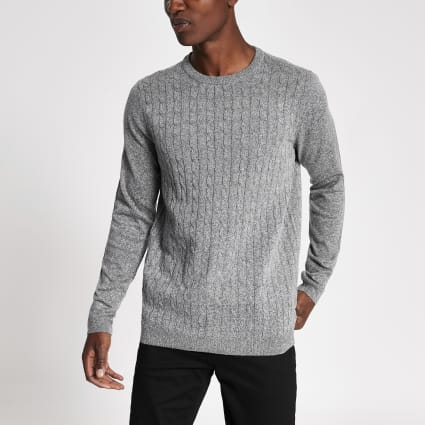 Only & Sons grey cable knit jumper