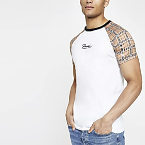 White 'Prolific' check raglan muscle T-shirt