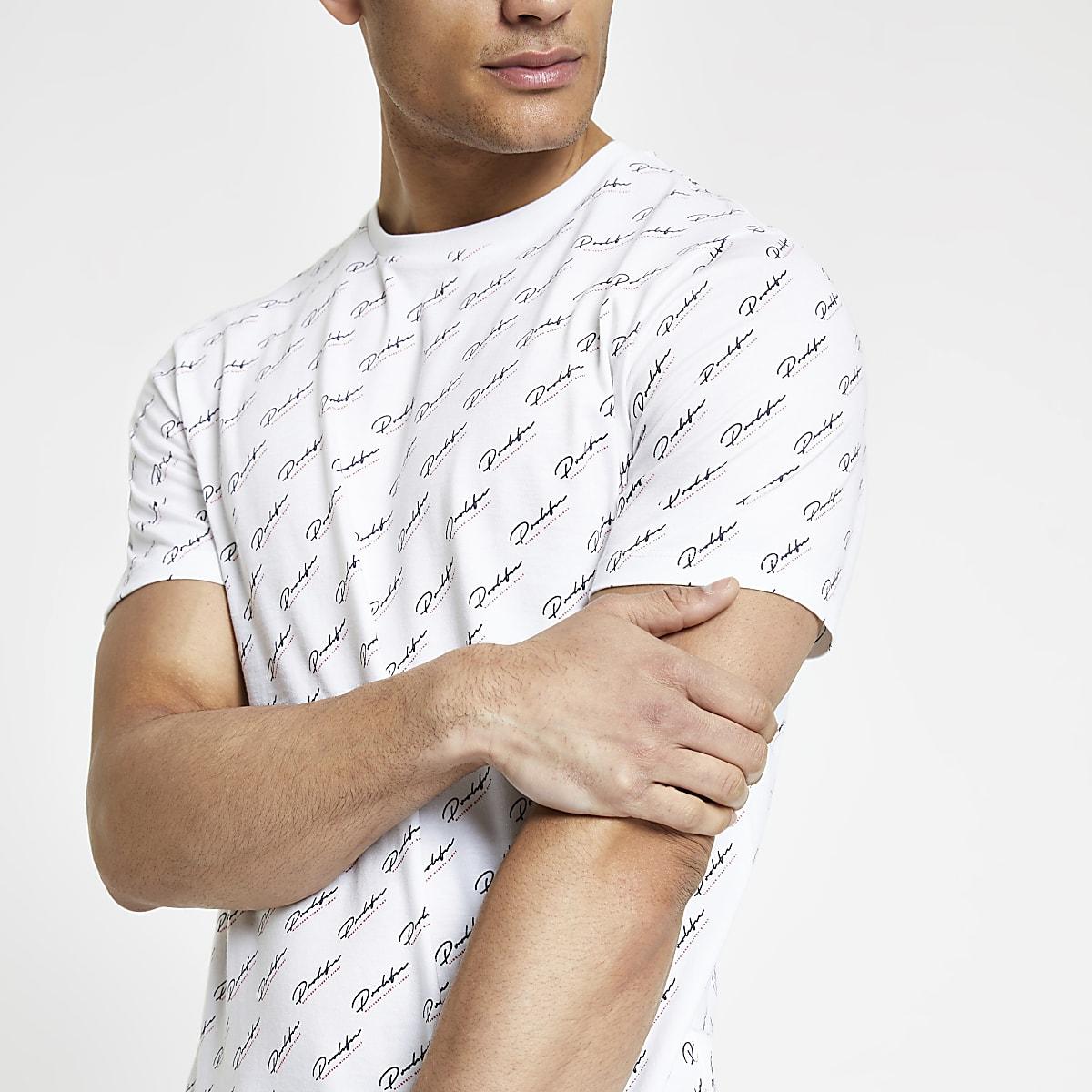 8d0f816a White 'Prolific' monogram slim fit T-shirt - T-shirts - T-Shirts ...