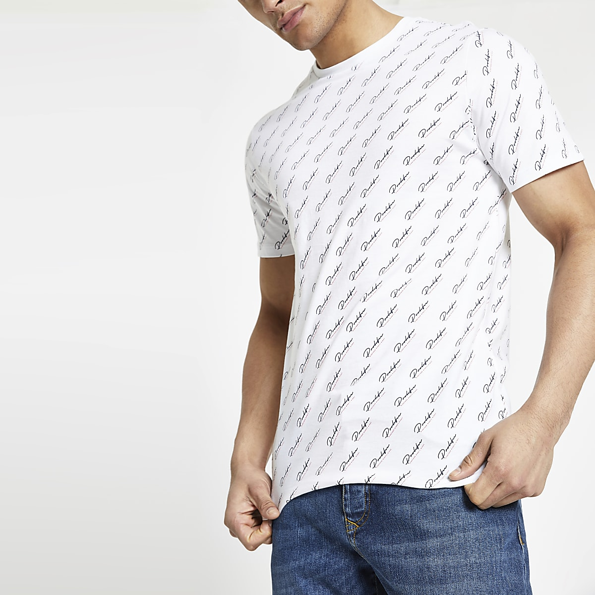 White 'Prolific' monogram slim fit T-shirt