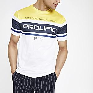 """Weißes Slim Fit T-Shirt """"Prolific"""" mit Mesh-Einsatz"""
