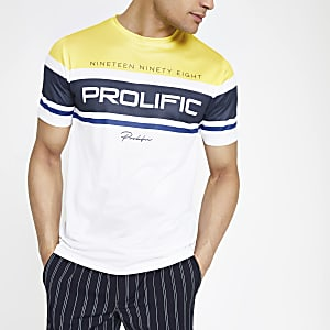 Wit slim-fit mesh T-shirt met 'prolific'-print