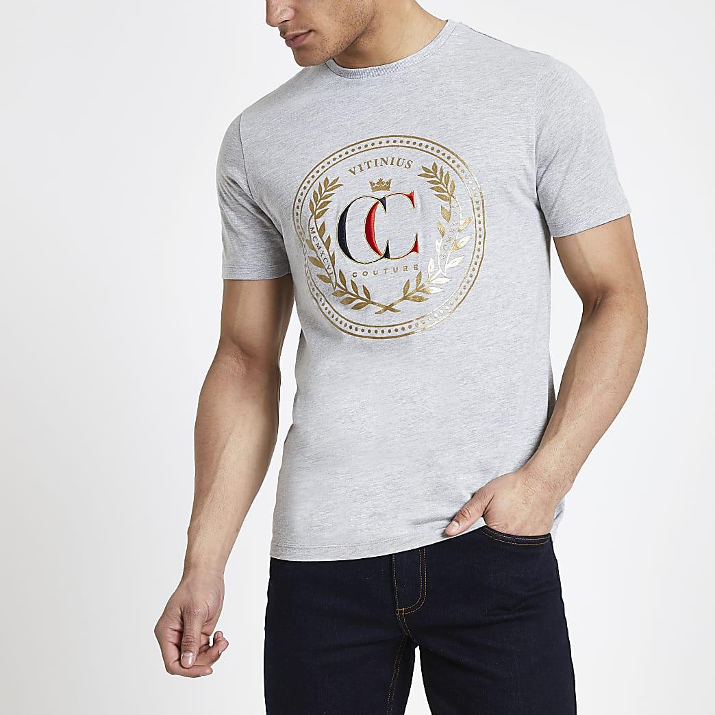 Grey marl printed slim fit T-shirt