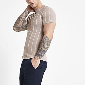 Roze slim-fit T-shirt met naden