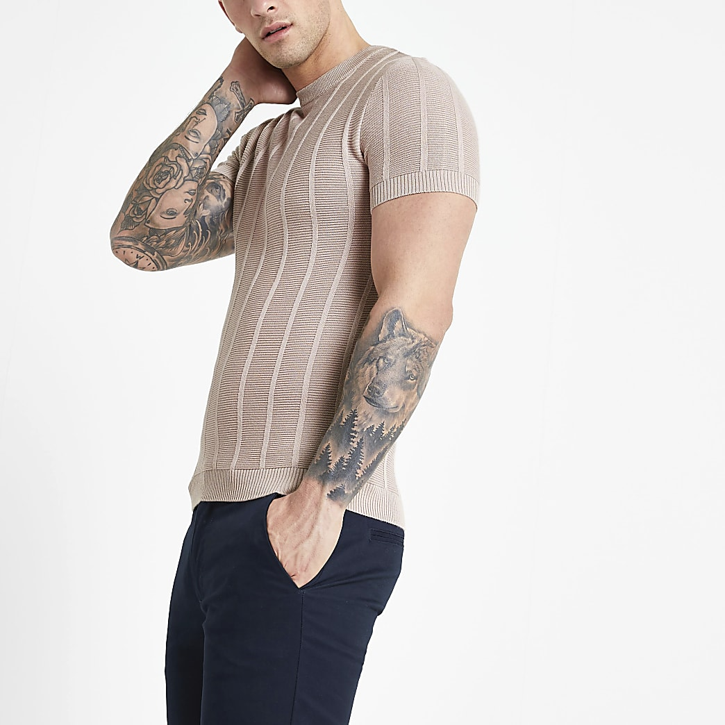 Pink muscle fit stitch knitted T-shirt