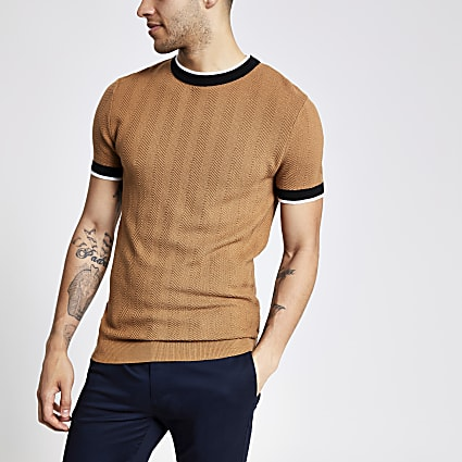 Brown slim fit knitted T-shirt